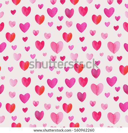 Watercolor seamless hearts love pattern - stock photo