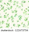 Watercolor seamless leaves pattern - stock photo