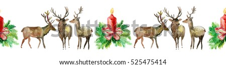 Watercolor seamless line with deer, candle and Christmas tree. Snow white deer and Holly, Vintage Merry Christmas and Happy New Year illustration.