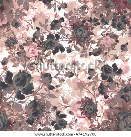 Watercolor seamless pattern bouquet of roses in bud VS. Beautiful pattern for decoration and design. Trendy print. Exquisite pattern of watercolor sketches of the flower. Toned.