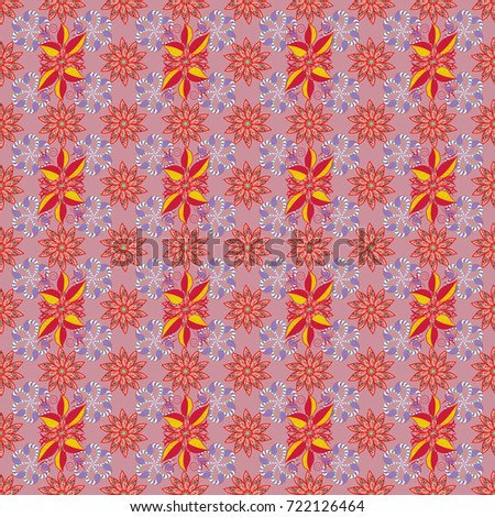 Watercolor seamless pattern. Floral print. Flowers on neutral, red and violet colors in watercolor style.
