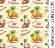 Watercolor seamless pattern. Illustration of a tropical paradise - stock photo