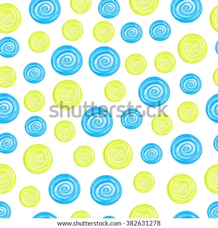 Watercolor seamless pattern of blue and green circles randomly distributed. Vector abstraction illustration. Hand-drawn multicolored elements on white background - stock photo