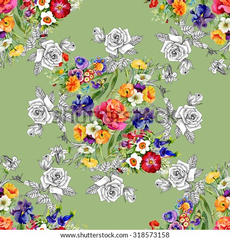 Watercolor seamless pattern on green background with roses, violets and other flowers. Background for web pages, wedding invitations, save the date cards - stock photo