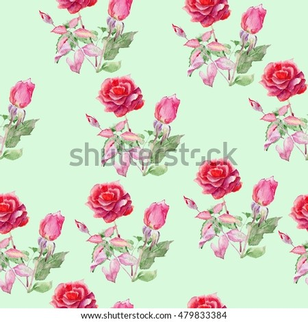 Watercolor seamless pattern. Watercolor rose. Floral pattern with red rose.