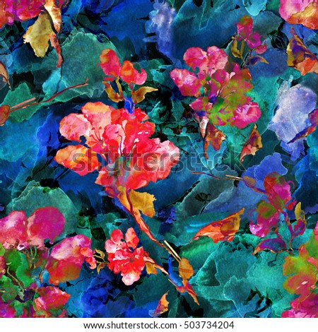 Watercolor seamless pattern .Watercolor seamless bright background from picturesque tropical flowers Fabric for summer tropical holiday Flower background with roses