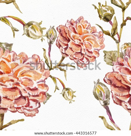 Watercolor seamless pattern Watercolor seamless bright background from picturesque tropical flowers.Picturesque surface for exotic fabric.Flower background with roses