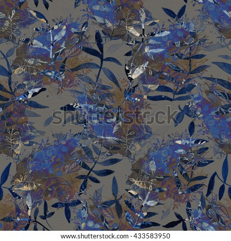 Watercolor seamless pattern .Watercolor seamless bright background .Picturesque surface for exotic fabric. Fabric for summer tropical holiday.Color 2016.Snorkel Blue, Lilac Gray. - stock photo