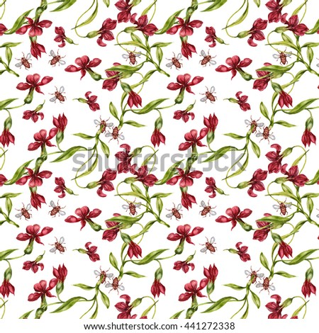 Watercolor seamless pattern with Blooming Flowers, beetles. Fern, Wildflowers and leaves. White background. - stock photo
