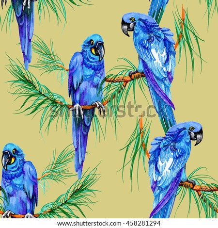 Watercolor seamless pattern with blue parrots on yellow background - stock photo