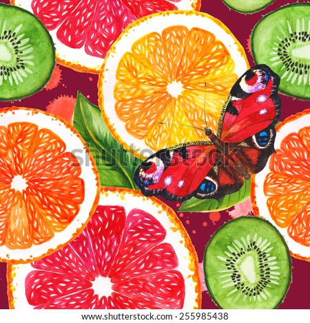 Watercolor seamless pattern with bright citrus slices and tie. Hand drawing.