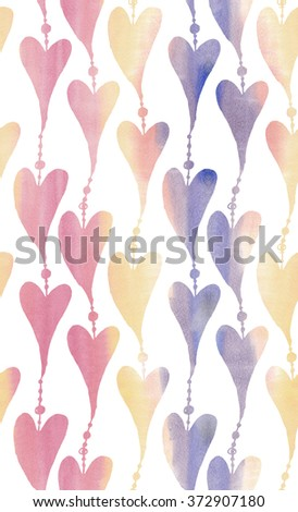 Watercolor Seamless pattern with bright hand painted watercolor hearts. Romantic decorative background perfect for Valentine's day gift paper, wedding decor or fabric textile - stock photo