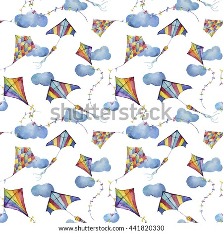 Watercolor seamless pattern with checkerboard and striped kites air. Hand drawn vintage kite with retro design. Illustrations isolated on white background for kids design, wallpaper or background - stock photo