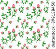 Watercolor seamless pattern with clover. Flowers, branches, leaves on white background. Hand painting on paper - stock vector