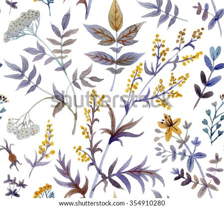 Watercolor seamless pattern with floral elements - stock photo