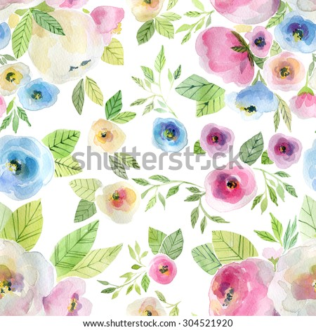 Watercolor seamless  pattern with flowers. Background for web pages, wedding invitations, save the date cards and other. - stock photo