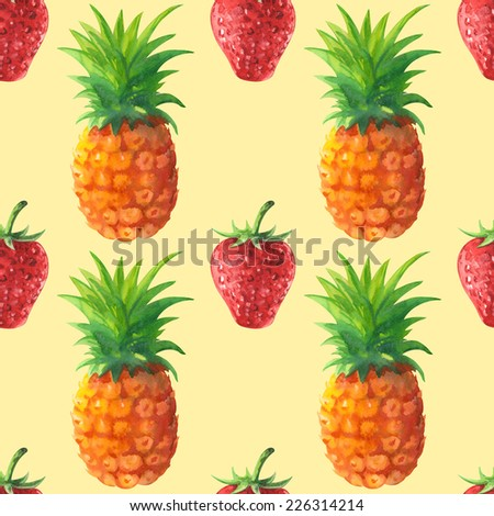 Watercolor seamless pattern with fruits and berries - pineapple and strawberry on a colored background  - stock photo