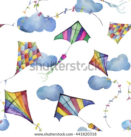 Watercolor seamless pattern with kites and clouds. Hand drawn vintage kite with retro design. Illustrations isolated on white background for kids design, wallpaper or background - stock photo