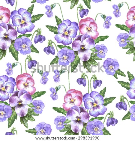 Watercolor seamless pattern with little bouquet of violet and pink pansies, leaves and buds - stock photo
