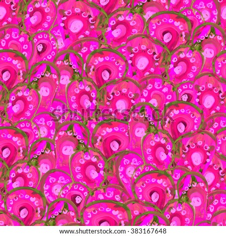 Watercolor seamless pattern with peacock feathers. Floral allover print. Vibrant background with peacock feathers. - stock photo