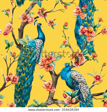 watercolor seamless pattern with peacock on a tree cherry, flowering trees, tree with flowers, yellow background - stock photo