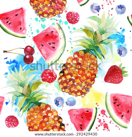 Watercolor seamless pattern with pineapples and watermelons. - stock photo