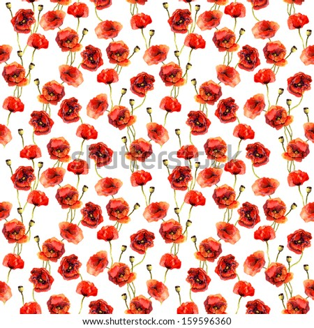 Watercolor seamless pattern with poppies - stock photo