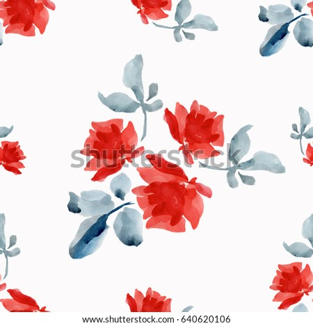 Watercolor seamless pattern with  red roses and gray leaves on white background
