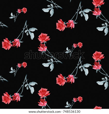 Watercolor seamless pattern with red roses and grey leaves on black background