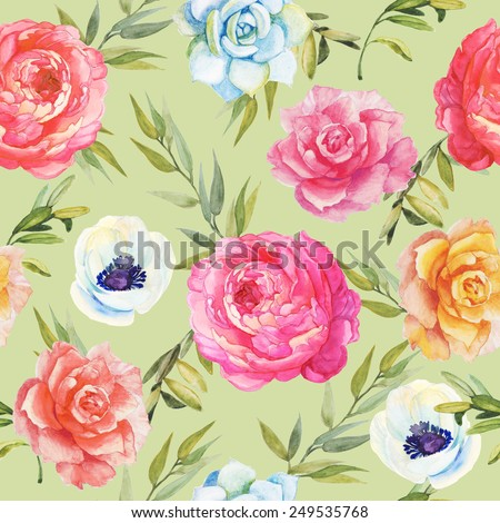 Watercolor seamless pattern with roses, peonies and anemones. Hand drawing. - stock photo
