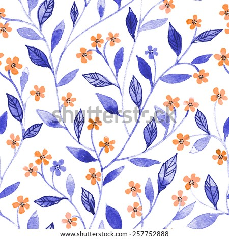 Watercolor seamless pattern with styled blossoms - stock photo