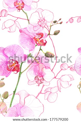 Watercolor seamless pink orchids pattern  - stock photo