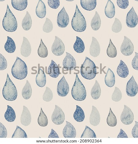 Watercolor seamless retro pattern. Beautiful Seamless abstract background with rain dots pastel faded  colors for your design. - stock photo