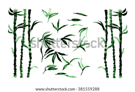 Watercolor set of bamboo leaves and plants.
