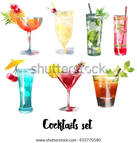 Watercolor set of Cocktails