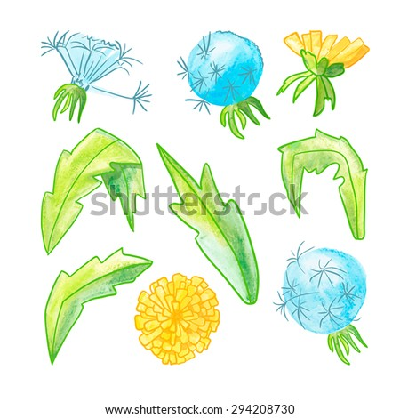 watercolor set of dandelions. isolated - stock photo