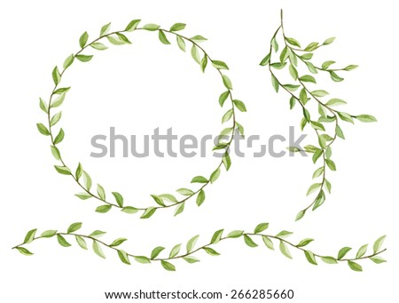 Watercolor set of floral frame, branch and border. Watercolor branches with green leaves. Can be used to design greeting cards, invitations, banners, packaging, fabric design - stock photo
