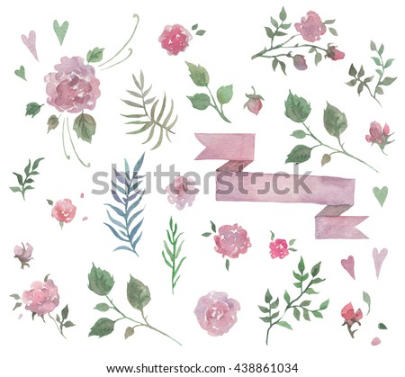 Watercolor Set of natural elements for your design  with a picture of roses and peonies flowers, leaves and  hearts - stock photo