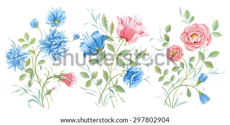 Watercolor Set of pink & blue flowers - stock photo