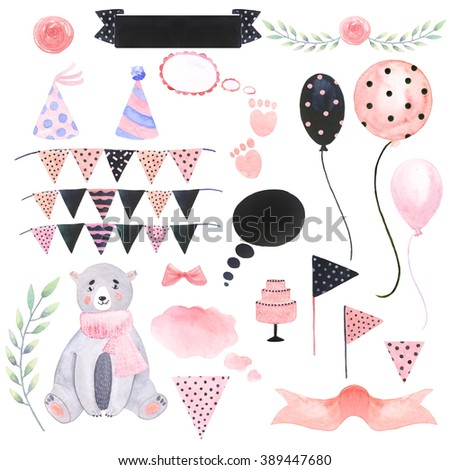 Watercolor set teddy bear, ribbon, wreath of branches, cake, balloons, bow, cake, candle, garland, cap