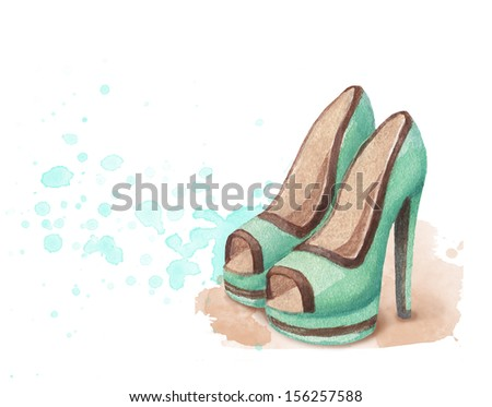 Watercolor shoes illustration - stock photo