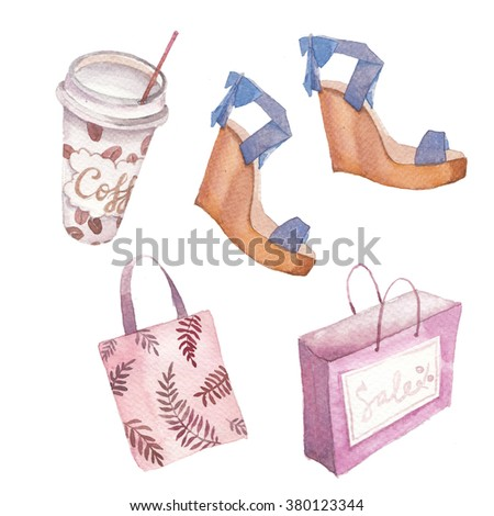 Watercolor shopping set. Hand painted fashion objects: coffee cup, bag, sandals, shopping bag isolated on white background. Summer beauty collection - stock photo