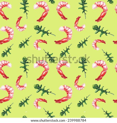 watercolor shrimp and rucola pattern - stock photo