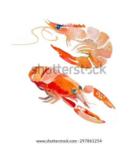 Watercolor shrimp, lobster - stock photo