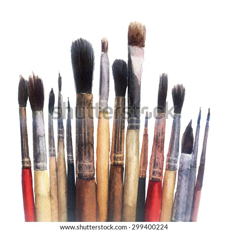 watercolor sketch: brushes on a white background