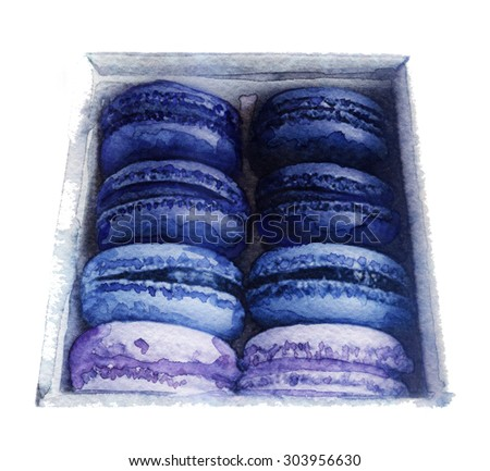watercolor sketch: Cookies in a box on a white background