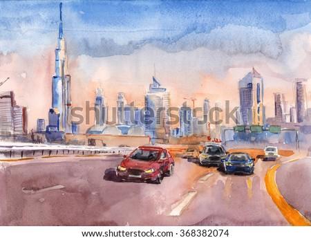 Watercolor sketch of a skyline of modern buildings in Dubai, UAE - stock photo