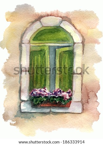 watercolor sketch of a window in the house - stock photo