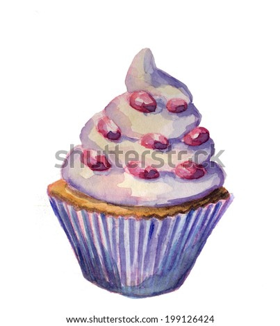 watercolor sketch of Cake  on a white background - stock photo