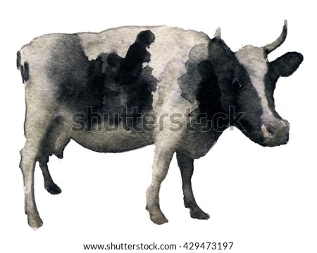 watercolor sketch of cow on a white background